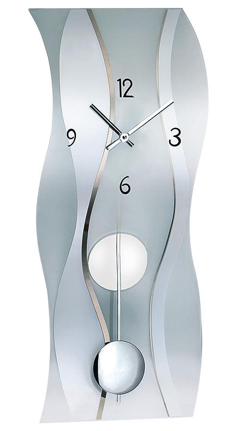 AMS Orologio da parete moderno con meccanismo al quarzo, argento, legno