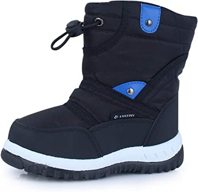 FUN.S Kids Snow Boots Boys Girls Winter Fur Lined Boots Waterproof Outdoor Hiking Warm Shoes