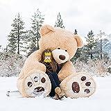 MorisMos Big Plush Giant Teddy Bear Premium Soft Huge Teddy Bear Stuffed Animals Light Brown (Light Brown, 100 Inch) (Color: Light Brown, Tamaño: 100 inches)