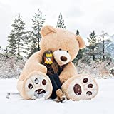 MorisMos Big Plush Giant Teddy Bear Huge Soft Stuffed Animals Light Brown (100 Inch)