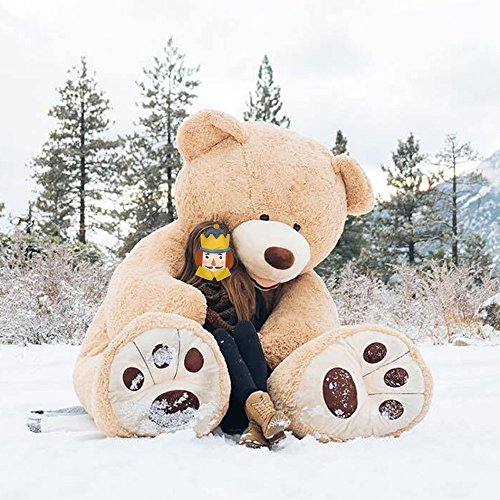 MorisMos Big Plush Giant Teddy Bear Huge Soft Stuffed Animals Light Brown (100 Inch) (Brown Animal Stuffed)