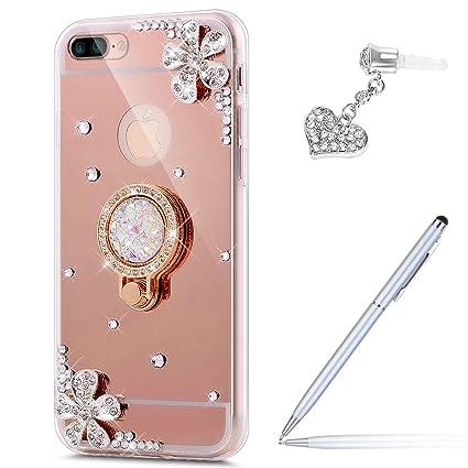new styles 6440b 08709 iPhone 8 Plus Case,iPhone 7 Plus Case,ikasus Inlaid diamond Flowers  Rhinestone Diamond Glitter Bling Mirror Back TPU Case & Ring Stand Holder  +Touch ...