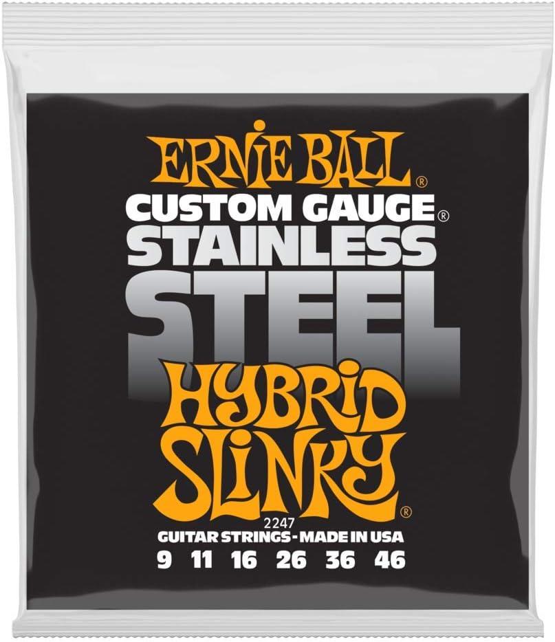 Cuerdas de guitarra eléctrica hiladas de acero inoxidable Slinky Ernie Ball Hybrid - 9-46 Gauge