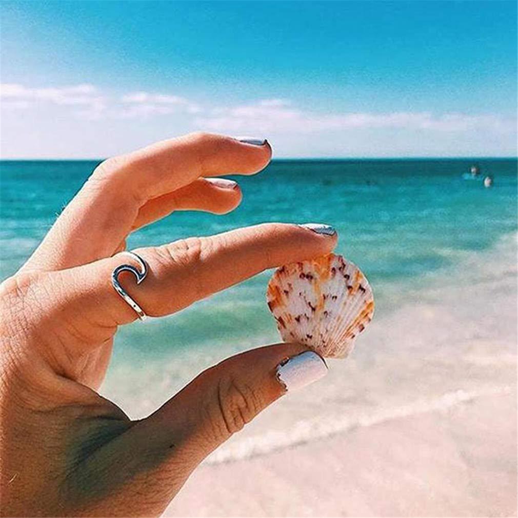 LnLyin Simple Dainty Thin Wave Ring Beach Sea Surfer Island Jewelry Handmade Wire Wrap Surf Ring,Silver,8