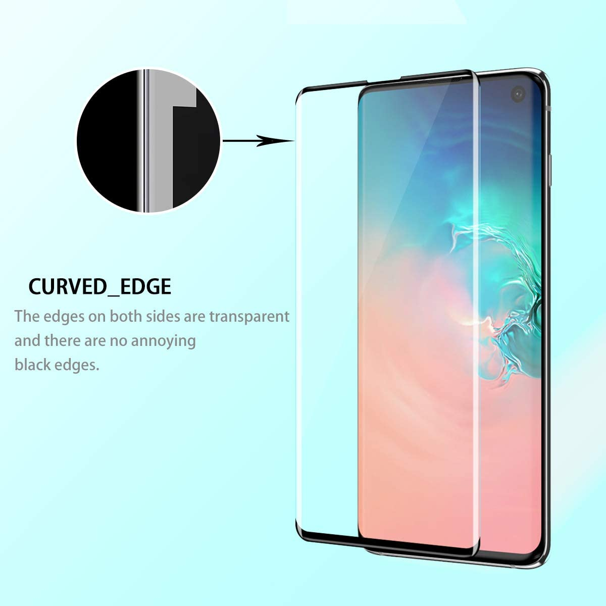 Galaxy S10 Screen Protector JYIN 9H Hardness 3D Curved Premium Tempered Glass,HD Clarity,Anti Scratch 2 Pack Anti-Bubble Touch Screen Accuracy High Clear Film for Galaxy S10