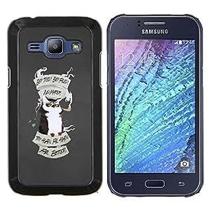 Cubierta protectora del caso de Shell Plástico    Samsung Galaxy J1 J100    Motivación Búho Try Again @XPTECH