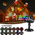Holiday Led Projector 12 Patterns Projector Lamp Christmas Decoration Moving Lights Switchable Slides Indoor and Outdoor Garden Waterproof Lawn Lamp for Halloween Thanksgiving Christmas