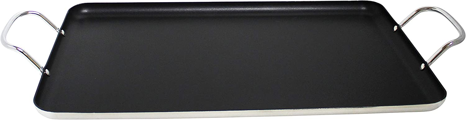 Imusa USA IMU-1814 Nonstick Stovetop Double Burner Griddle with Metal Handles, 17-Inch, Black