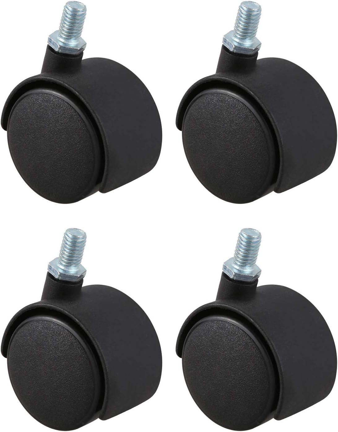 LQNB Roulette pivotante en plastique 8mm Tige filetee diametre de roue de 1,5 pouces 4 Pcs Noir
