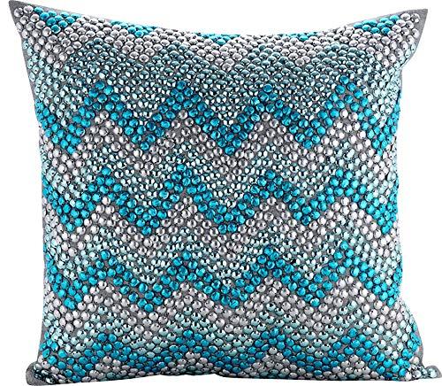 The HomeCentric Azul turquesa Fundas para Cojines 30 x 30 cm ...