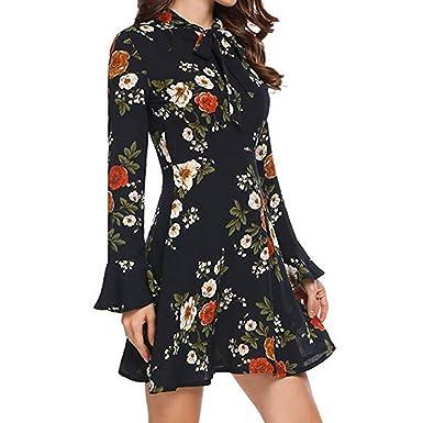 418118d56155d Gaddrt Femme Mode Torche à Manches Longues Bow O-Neck Floral imprimé Mini  Robe  Amazon.fr  Vêtements et accessoires