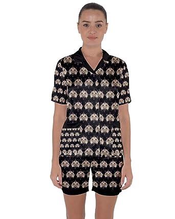 4816389b8e62 PattyCandy Womens Dachshund Dog Seamless Satin Short Sleeve Pyjamas Set - XS
