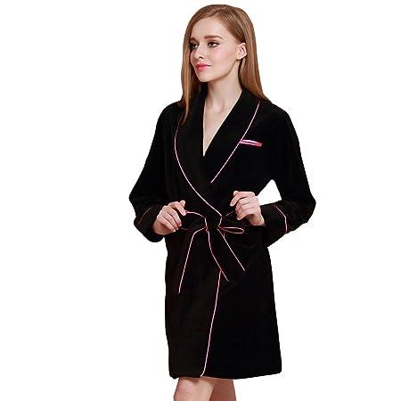 Ladies Velvet Bathrobe Nightgown Pajamas Dressing Gownblack S