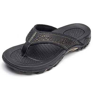 42db1c192a29 HOBIBEAR Mens Flip Flops Sport Thong Sandals Comfort for Outdoor Beach Black -a