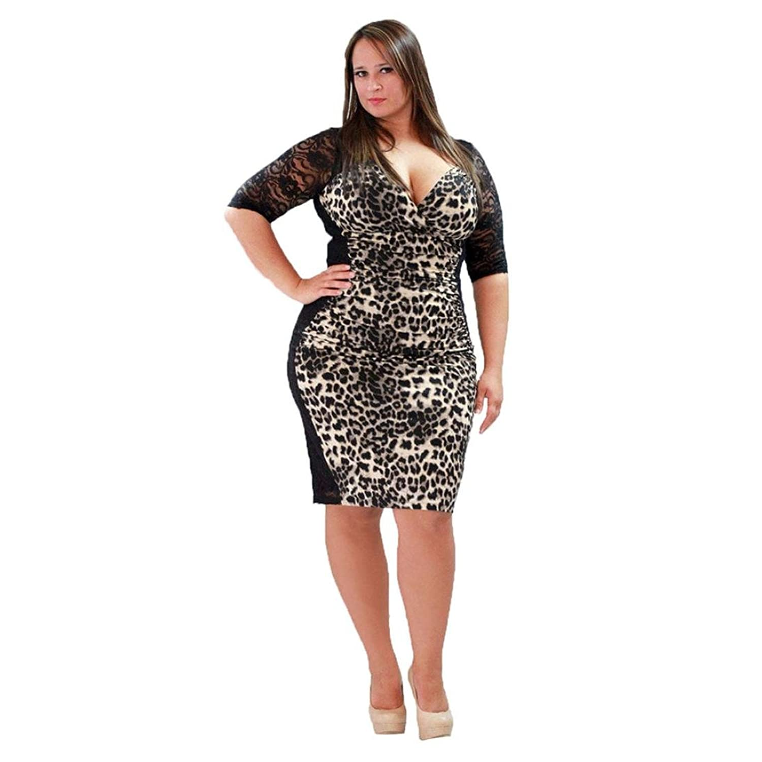 GBSELL Sexy Women Summer Half Sleeve Lace Leopard V-Neck Large Size Dress