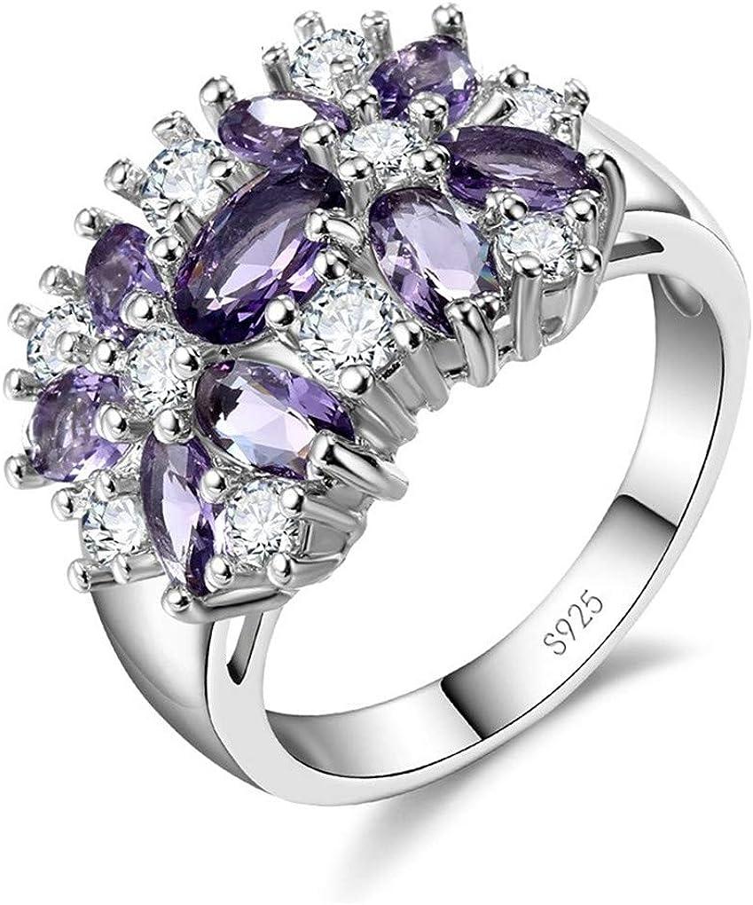 Ferusshomic Pure 925 Sterling Silver Sparkling Rings for Women Girls Brilliant CZ Crystal Wedding Engagement Summer Purple 6