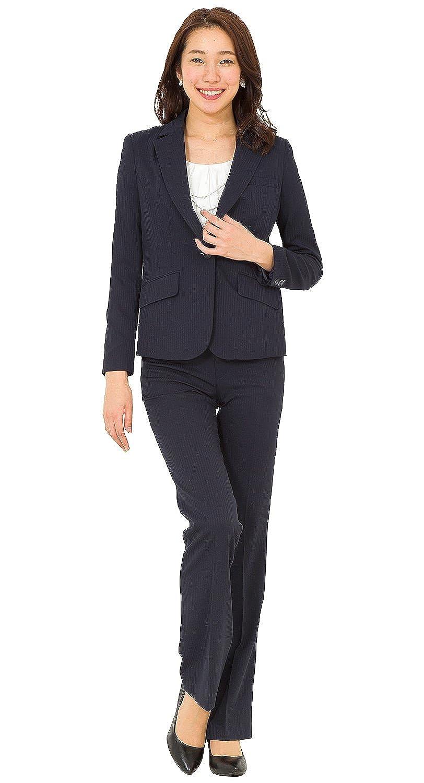 [アッドルージュ] スーツ レディース パンツスーツ ジャケット 2点セット ストレッチ 洗える 【j5099】 B079FH97R5  【1つボタン】シャドーネイビー 9号