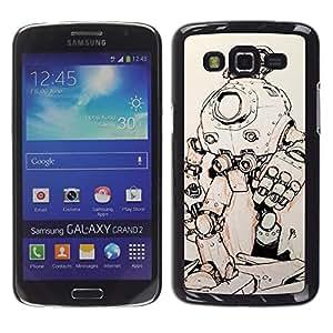 Be Good Phone Accessory // Dura Cáscara cubierta Protectora Caso Carcasa Funda de Protección para Samsung Galaxy Grand 2 SM-G7102 SM-G7105 // robot sci-fi metal futuristic sketch