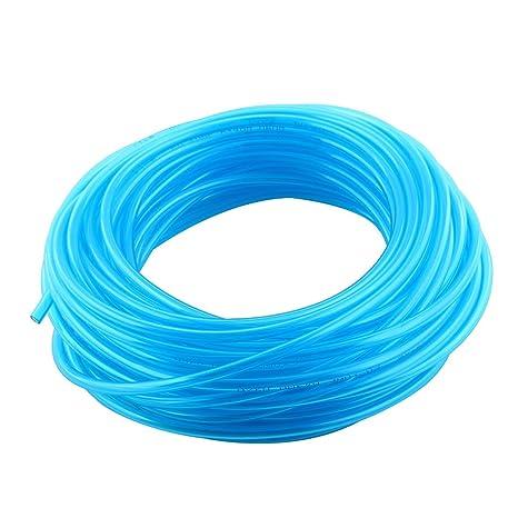 sourcing map Acuario Pecera PU Tubo del Oxígeno Aire Manguera Flexible Azul 20M de Longitud