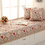 SQINAA Floral non-slip bay window mat,Lace window seat cushion balcony mat floating window blanket mat sofa slipcovers tatami mat-B 70x210cm(28x83inch)