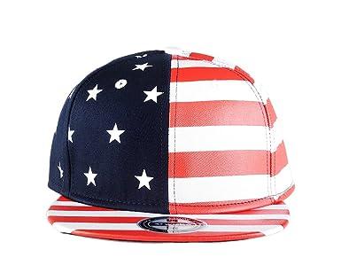 873c450de46 Flag Snapback Hat Cap Color Matching Flat Brim Hip-hop Cap(red white)   Amazon.in  Clothing   Accessories