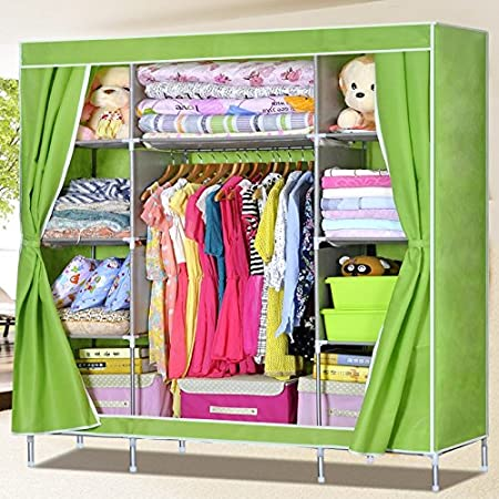 Generic Super Reinforced Triple Portable Folding Clothes Wardrobe Closet Large Hanging Space Rack Cabinet