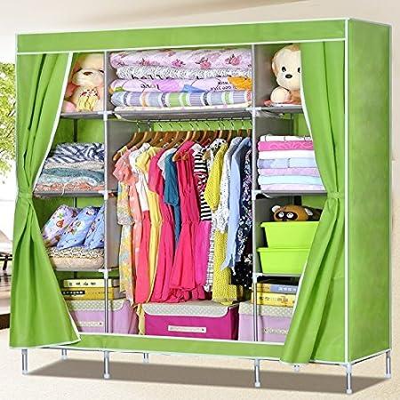 Generic Super Reinforced Triple Portable Folding Clothes Wardrobe Closet Large Hanging Space Rack Cabinet