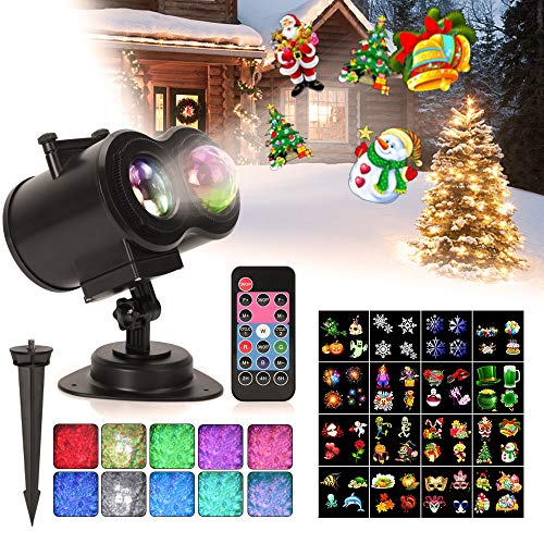 Ocean Wave Christmas Projector Lights, Remote Control 2-in-1 Moving Patterns W/Water Wave LED Landscape Holiday Night Lights Waterproof Outdoor Indoor Xmas Party Yard Garden Decorations, 16 Slides