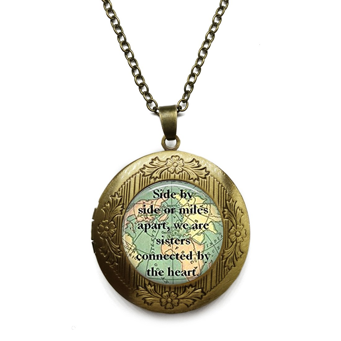 SunShine Day Bronze Necklace, Sister Map Travel World Map Design Girls/Boys Chain Necklace with Pendant