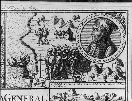 Photo: Vasco Nunez de Balboa taking possession of the Pacific Ocean;1726,profile (Vasco Nunez De Balboa For Kids)