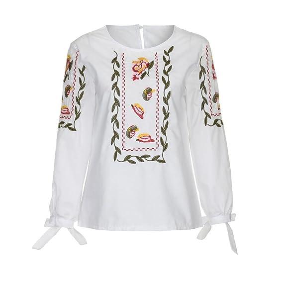 Vovotrade® Mujer Floral Flor Bordado Bowknot Blusa Casual Tops Suelto Camiseta Cerca (S,