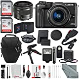Canon EOS M6 Mirrorless Digital Camera with 15-45mm Lens Deluxe Bundle with 2X Professional 32GB + Card Wallet + Flash + Remote + Tripod + Filters + Camera Case & Straps + Xpix Lens Accessories