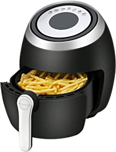R.W.FLAME Air Fryer 3.8 Quart 1500 Watts,7-in-1 Digital Air Fryer,with Recipe Book,Black