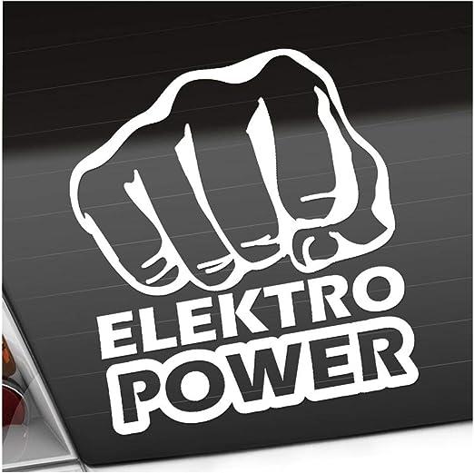 Elektro Power Faust Schlag 10 X 11 Cm In 15 Farben Neon Chrom Sticker Aufkleber Auto