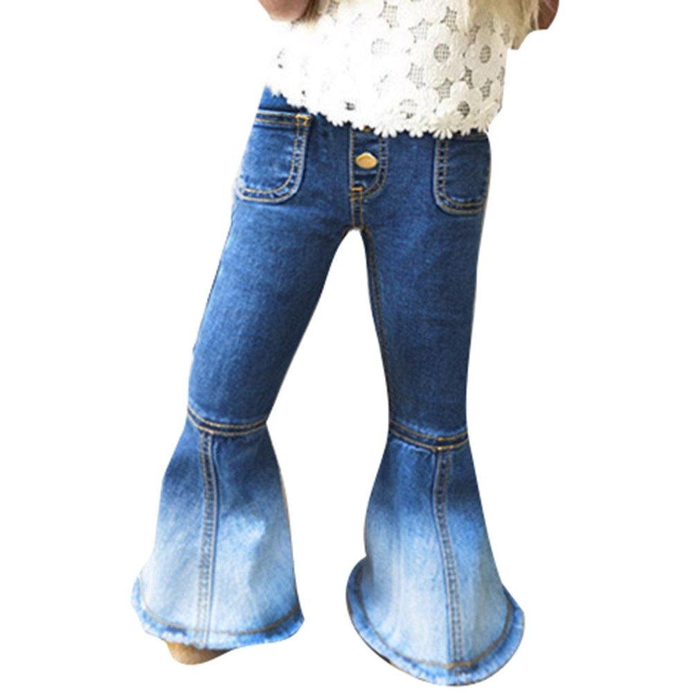 Yying Jeans für Baby Kinder - Mode Schlaghose Jeans Weich Elastische Taille Casual Lange Hose Jeanshose mit Taschen für Mädchen D180320KZ3-Y