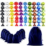 LoveS 70 Polyhedral Dice - Complete Sets Of Seven Dice In 10 Colors - 70 Dice in 10 Little Dice Bags - FREE Large Velvet Dice Bag for Dungeons and Dragons Dice