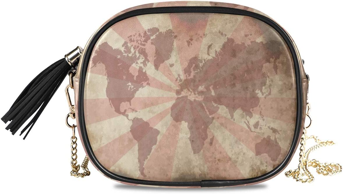 ALAZA Women's Abstract Old World Map PU Leather Crossbody Bag Shoulder Purse with Tassel