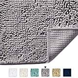 H.VERSAILTEX Grey Rugs for Bathroom Slip-Resistant Shag Chenille Bath Rugs Mat Extra Soft and Absorbent Bath Rug for Shower Room Machine-Washable Fast Dry (Gray, 17' x 24')