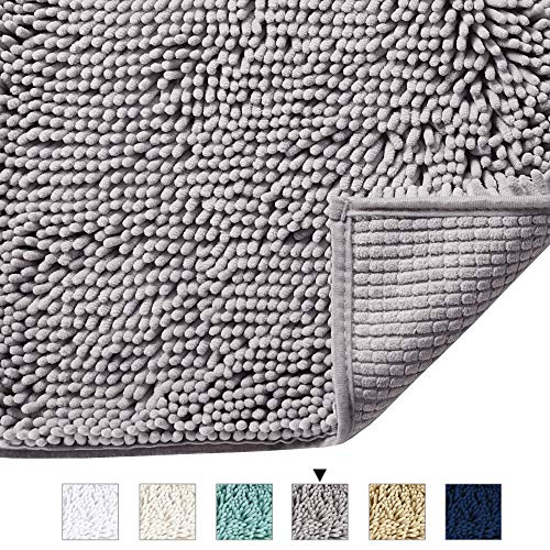 Rugs Chenille Bath - H.VERSAILTEX Grey Rugs for Bathroom Slip-Resistant Shag Chenille Bath Rugs Mat Extra Soft and Absorbent Bath Rug for Shower Room Machine-Washable Fast Dry (Gray, 17