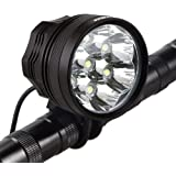 Weihao Bicycle Headlight, 10500 Lumens 7 LED Bike Light, Waterproof Mountain Bike Front Light Headlamp with 9600mAh Rechargea
