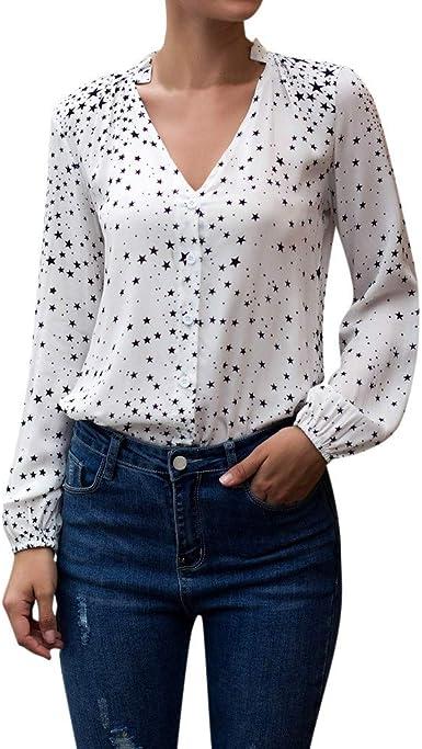 beautyjourney Camisa Casual para Mujer con Cuello de Pico y Estampado de Estrellas Camisa de Manga Larga Top de Camisa de Trabajo de Oficina Camiseta Blusa Túnica: Amazon.es: Ropa y accesorios