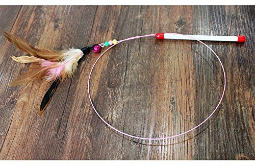 Fishfly Cat Teaser Cat Wire Dangler Wand Toys with Beads Bells and Feather Interactive 6