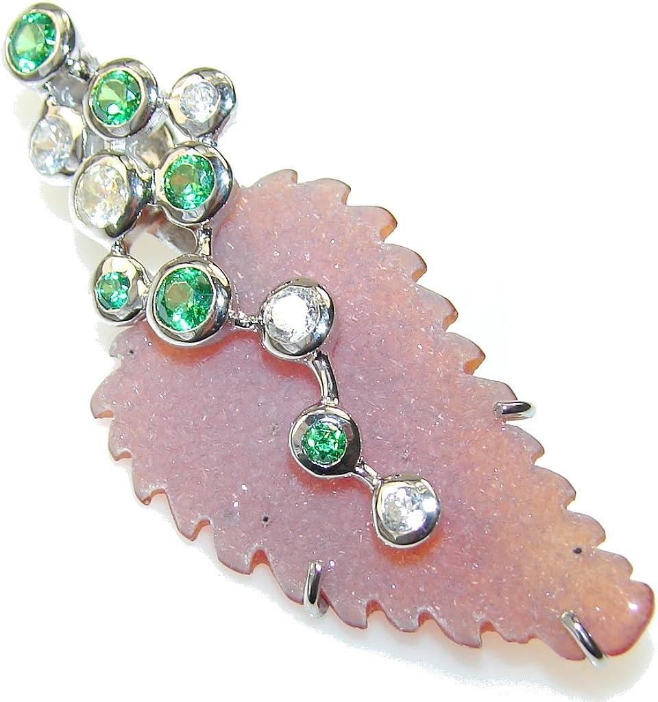 FREE GIFT BOX Agate Druzy Women 925 Sterling Silver Pendant