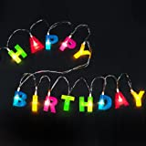 """Bright Zeal Multicolor Letter HAPPY BIRTHDAY LED String Lights (1.2"""" Letter Size, 5.5' Long, Battery Included) - LED Letters Lights for Birthday Decorations - Home Decor Birthday Party Supplies"""