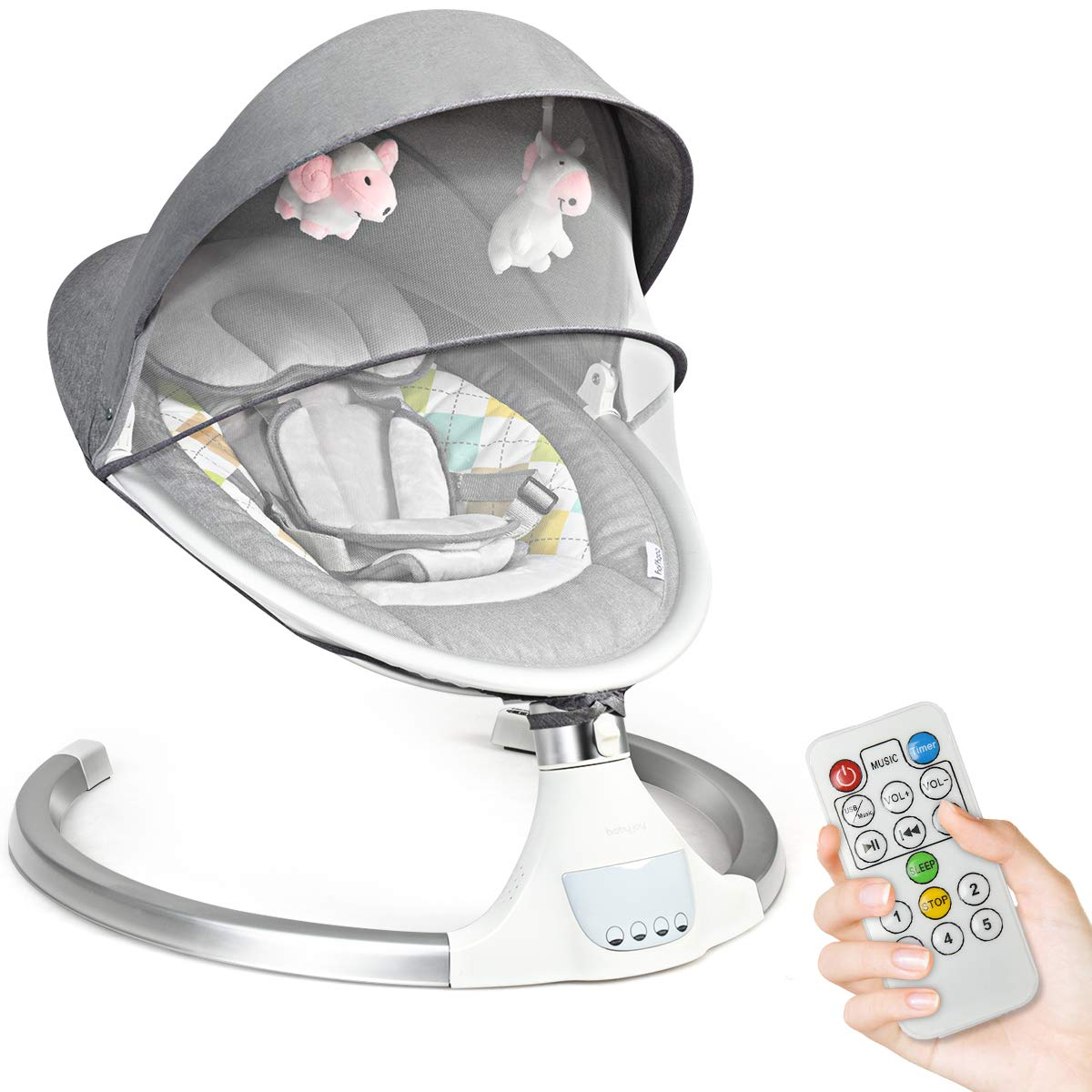 Electric Baby Bouncer Swing Chair Remote Control Cradling Removable Mosquito Net