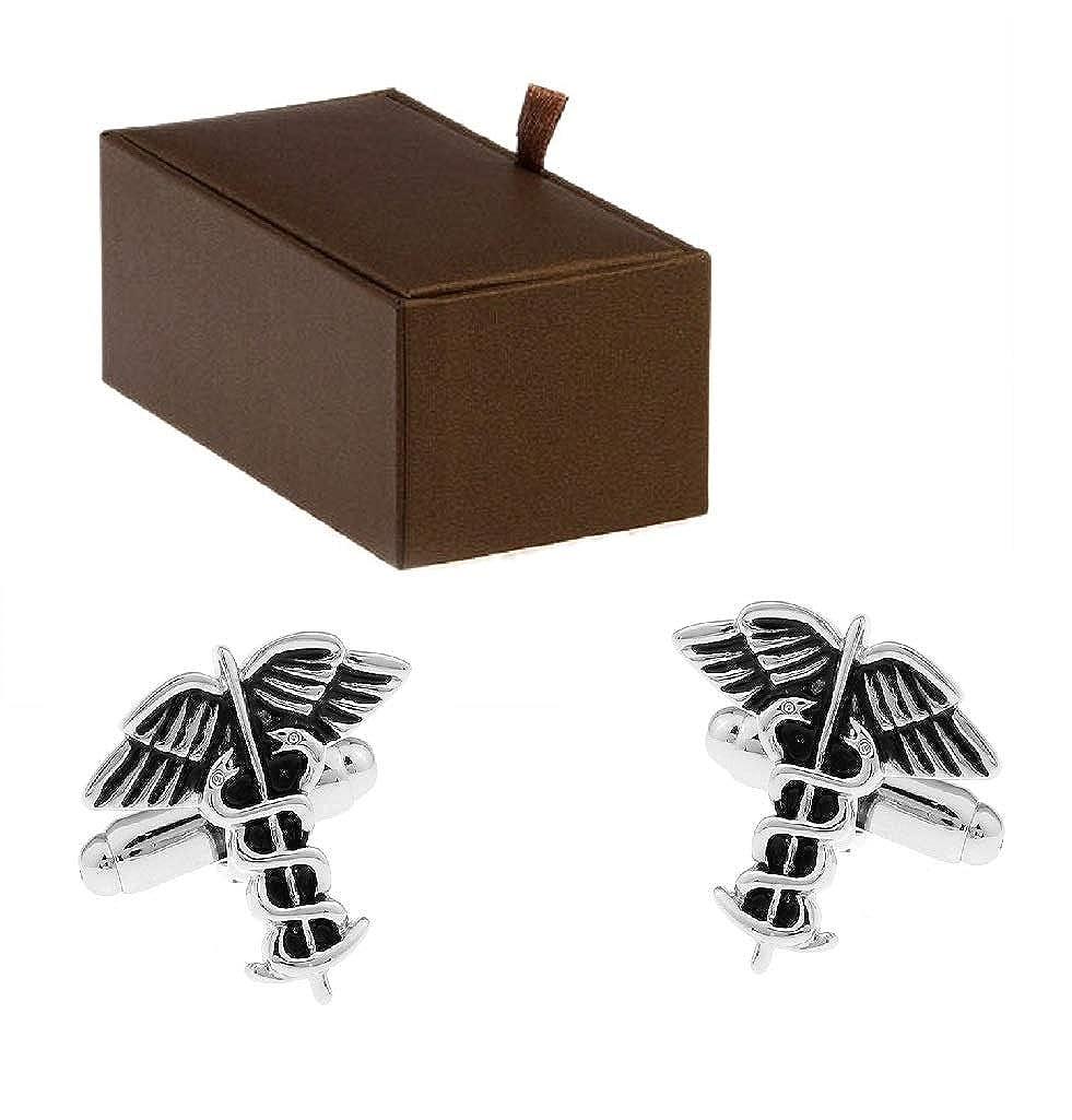 Silver Tone Caduceus Medical Symbol Cufflinks By Mens Bodega