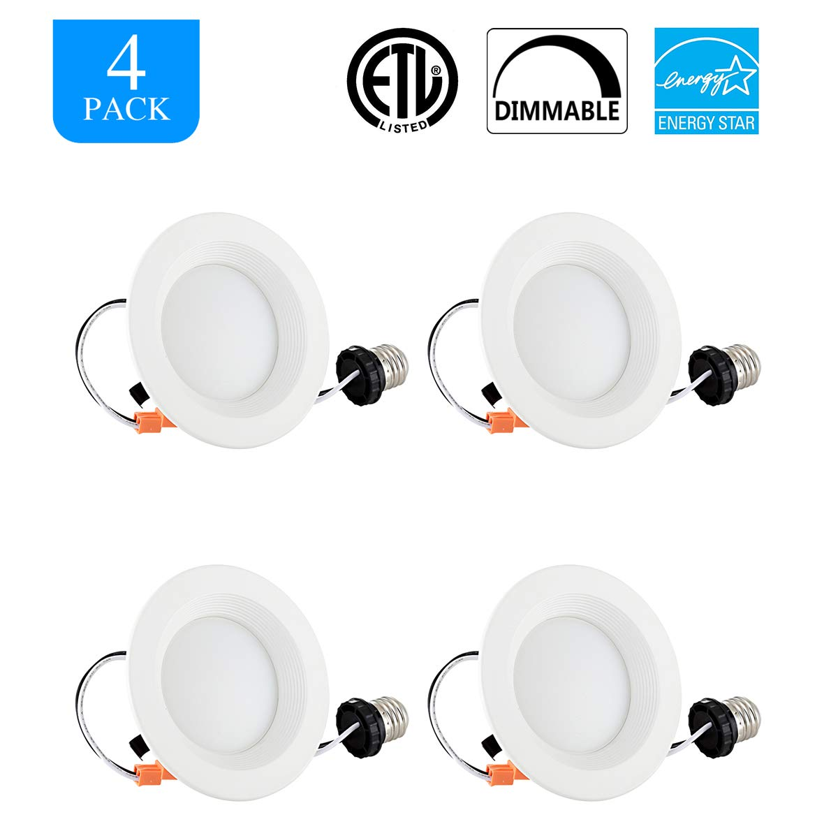HOMIFORCE LED Downlight 2700K - 4 Packs 4 Inch 8W Dimmable Ceiling Lights - 65W Replacement Baffle Recessed Retrofit Kit Dimmable LED Light - Warm White