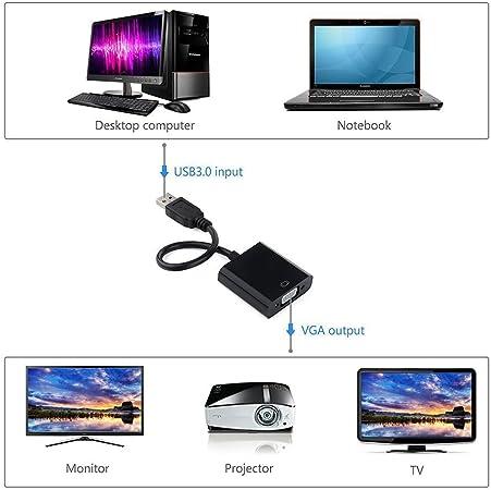 USB 3.0 to VGA, adaptador de cable externo de pantalla para PC ...