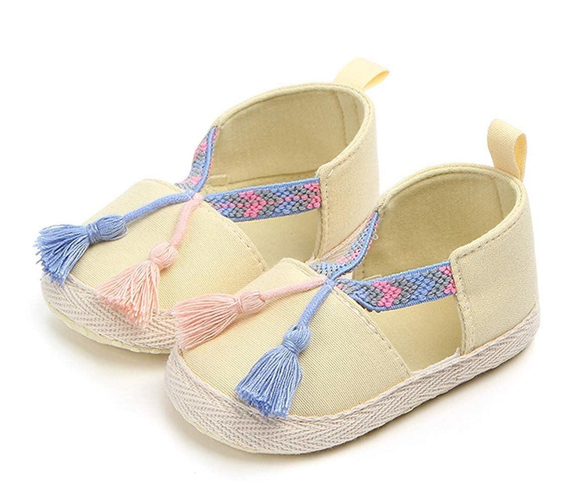 LFHT Baby Boys Girls Soft Soled Tassel Crib Slip On Infant Toddler Elastic Prewalker Shoes