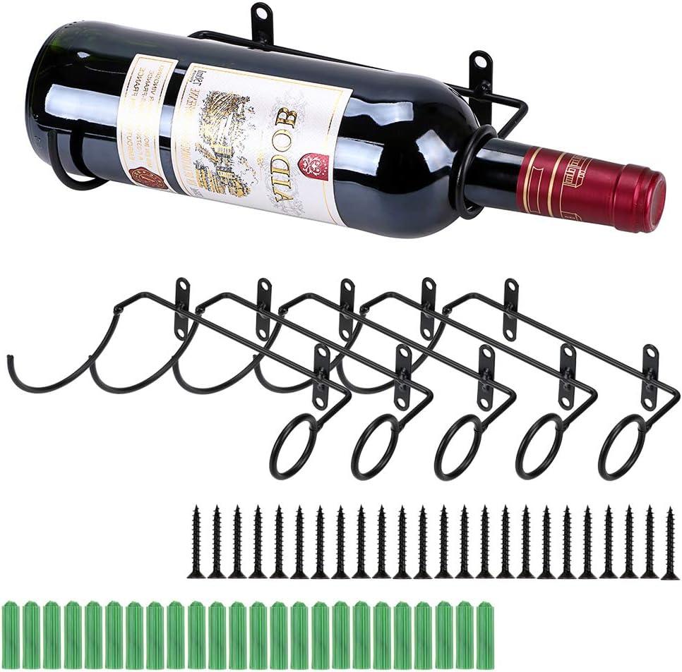 BSTKEY Soporte de hierro para pared de 6 unidades para botellas de vino, vino tinto, bebidas para adultos, expositor de botellas de licores, organizador colgante, boca de botella a la derecha